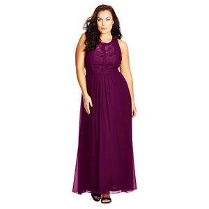 CITY CHIC Mulberry Lace Panel Maxi Dress